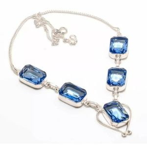 Blue Topaz and 925 Silver Necklace